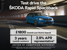 ŠKODA Rapid Spaceback with 2.9% APR and £1800 deposit contribution.