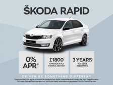 ŠKODA Rapid with 0% APR and £1800 deposit contribution.PLUS order before 30th April 2017 and receive an extra £500 Customer saving against the list price.