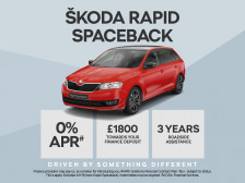 ŠKODA Rapid Spaceback with 0% APR and £1800 deposit contribution. PLUS order before 30th April 2017 and receive an extra £500 Customer saving against the list price.