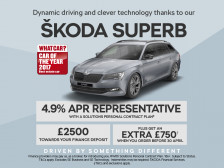 ŠKODA Superb SportLine with 4.9% APR and £2500 finance deposit allowance. PLUS order before 30th April 2017 and receive an extra £750 Customer saving against the list price.