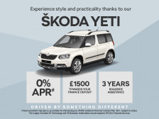 ŠKODA Yeti PCP Offer with 0% APR and upto £1500 deposit contribution. PLUS order before 30th April 2017 and receive an extra £500 Customer saving against the list price.
