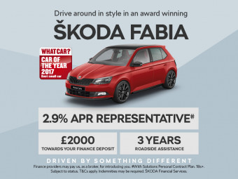 ŠKODA Fabia PCP with 2.9% APR and £2000 deposit contribution. Order and take delivery before 30th June and receive an additional £250 reduction in list price.